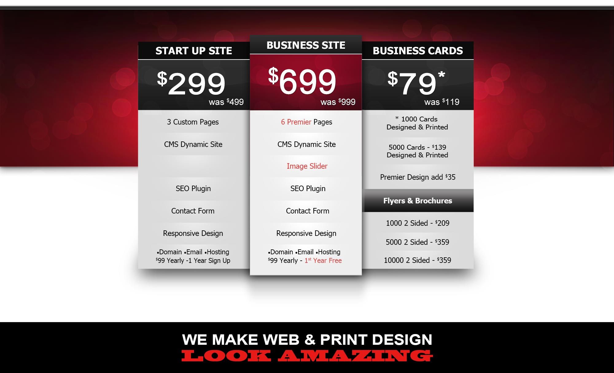 Pricing for website design services in newmarket